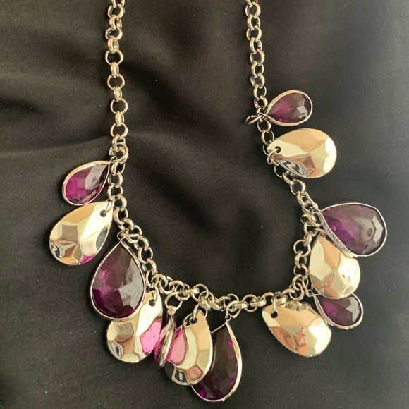 Purple and Silver Teardrops Necklace